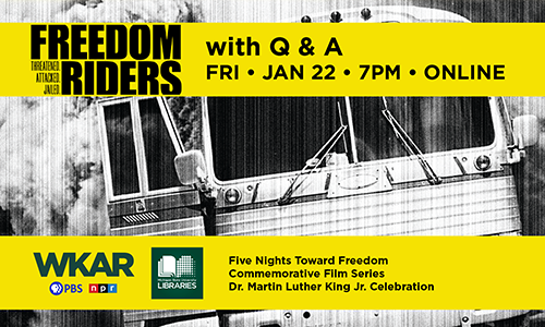 Freedom Riders bus image with gold band of color and title Freedom Riders